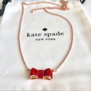 Last one! Kate Spade Enamel Bow Necklace-Red